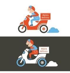 Pizza delivery guy on a scooter isolated vector