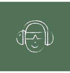 Man in a headphones icon drawn chalk vector