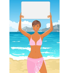 Bikini girl with sign vector