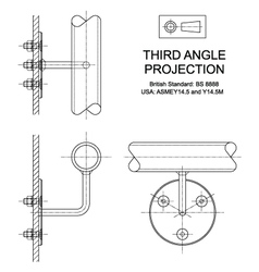 Third angle orthographic projection vector