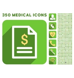 Invoice Page Icon and Medical Longshadow Icon Set vector image