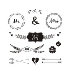 hand drawn ornaments wedding vector image