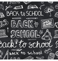 Back to school supplies sketchy chalkboard vector