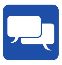 Blue white sign two speech bubbles icon vector