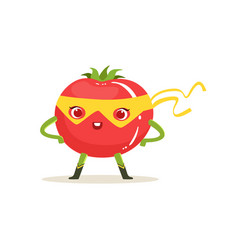 cartoon character of superhero tomato with arms vector image vector image