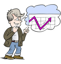 Cartoon of a family man who is thinking of a good vector