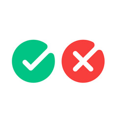 Check mark icons green tick and red cross vector