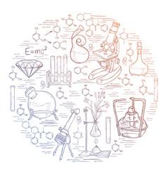 Chemistry lab sketch banner vector