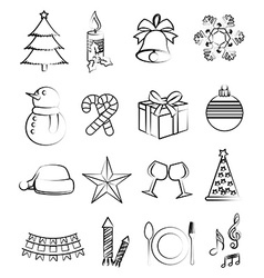 Christmas line icons set vector