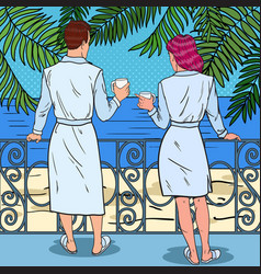 Couple drinking coffee at the balcony pop art vector