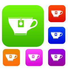 cup with teabag set collection vector image