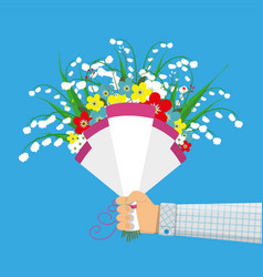 Cute bouquet of flowers in hand vector