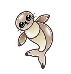 Cute cartoon seal isolated vector image