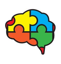 flat color brain icon vector image vector image