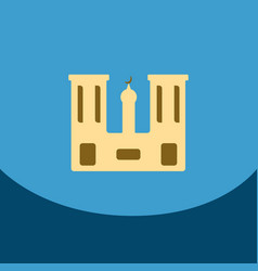 Flat icon on blue square arabic mosque with the vector