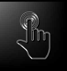 Hand click on button gray 3d printed icon vector
