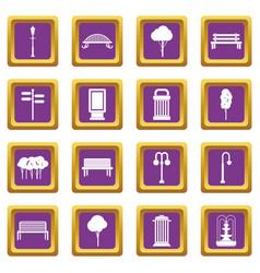 Hangar icons set purple vector