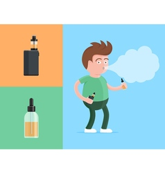 Happy young vaper man holding electronic cigarette vector