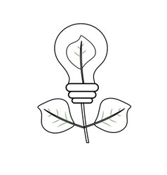Line energy bulb plant with leaves to ecology care vector