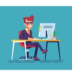 Man sitting legs crossed and typing something vector image vector image