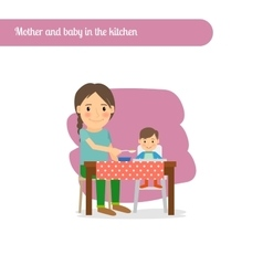 Mother and baby in the kitchen vector