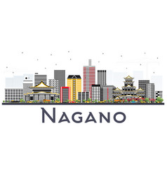 Nagano japan city skyline with color buildings vector