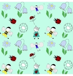 pattern with children flowers and beetles vector image vector image