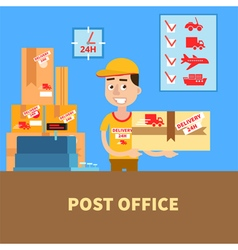 Post Office Postman with the Parcel Postal Service vector image