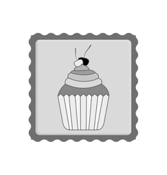 Post stamp with cupcake icon vector