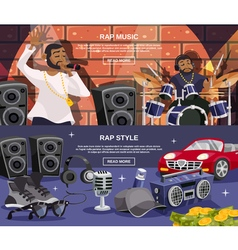 Rap music banner set vector