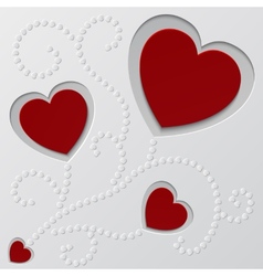 Red paper hearts Valentines day card vector image vector image