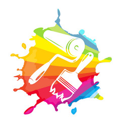 roller and brush painting vector image