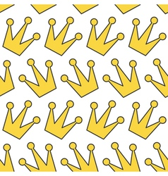 Seamless Pattern Gold yellow contour crown icon vector image