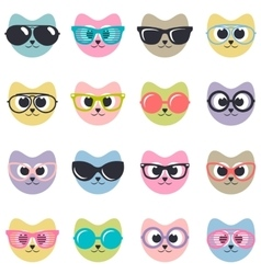 set of cats with sunglasses vector image vector image