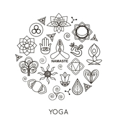 Set of outline yoga monograms and logos Abstract vector image vector image