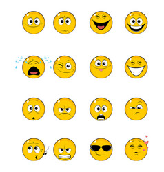 sixteen yellow faces vector image