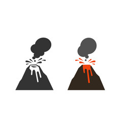 volcano volcanic eruption icon or symbol vector image
