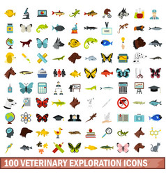 100 veterinary exploration icons set flat style vector image vector image