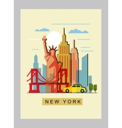 Usa and landmark vector