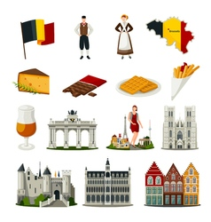 Belgium flat style icons set vector