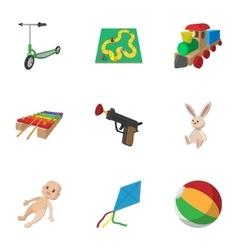 Toys kid icons set cartoon style vector