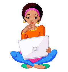 Young african woman sitting on cushion with laptop vector