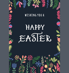 Happy easter greeting card with hand drawn vector