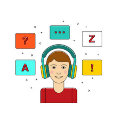 Learn language concept with boy in headphone vector