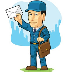Cartoon of postman or mailman vector