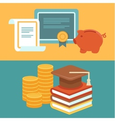 Invest in education concept in flat style vector