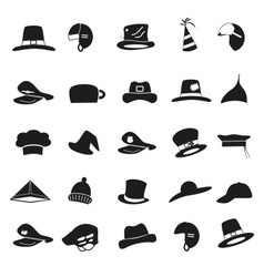 Various black hats icons set eps10 vector