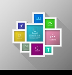 Square colour group with icons number for brochure vector