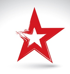 Hand drawn soviet red star icon scanned and brush vector