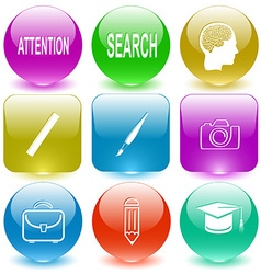 Attention search human brain ruler brush camera vector